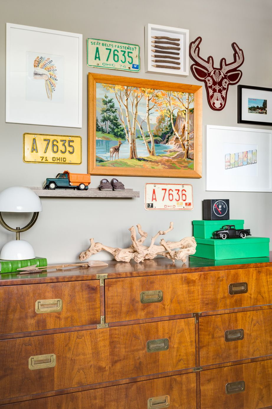 eclectic toddler room design reveal | campaign dresser, funky