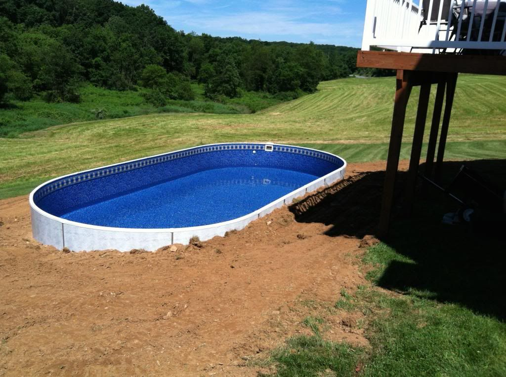 how to level an above ground pool on a slope