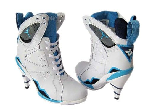 Cheap Women Nike Air Jordan 7 High Heels White Blue For Sale