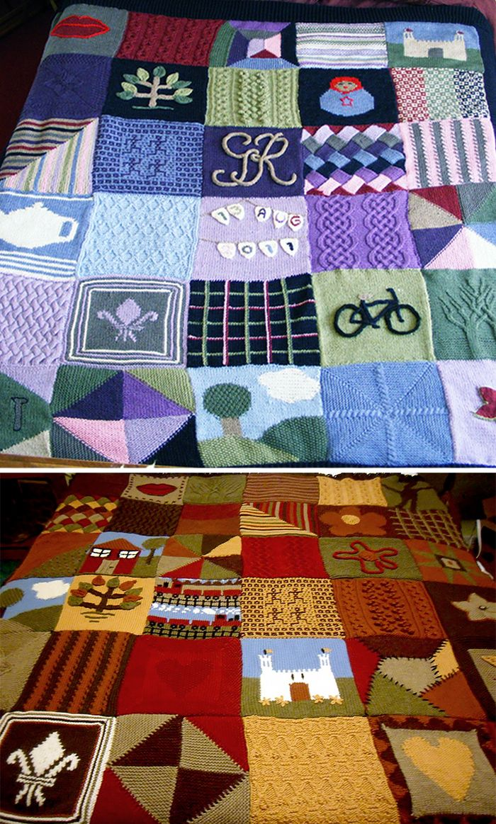Free Knitting Pattern for Oddball Sampler Afghan - Each square of ...