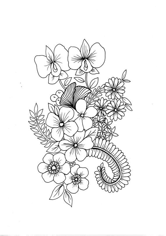Wild Flowers Pdf Coloring Page Etsy In 2021 Flower Pattern Drawing Coloring Pages Flower Drawing