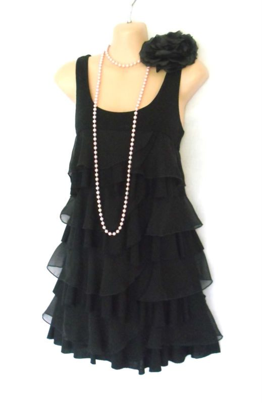 Playful Winter 1920s Style Flapper Dress H M Fab Black Roaring 20s Deco Style Tiered Flapper