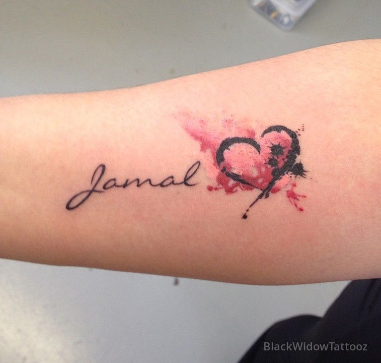 Watercolor Heart Name Watercolor Heart Tattoos Tattoos For