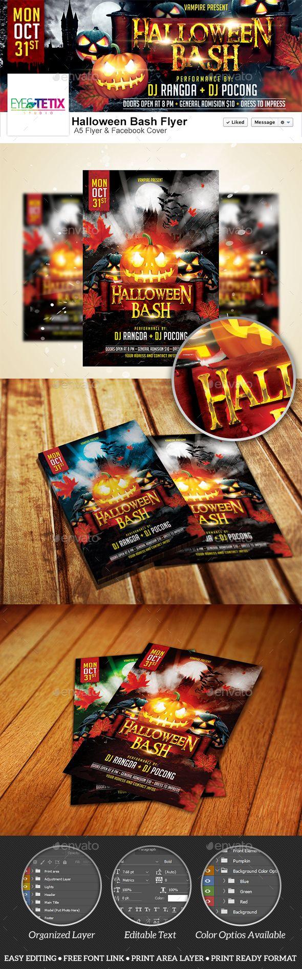 Halloween Bash A5 Flyer + Facebook Cover — PSD Template #halloween ...