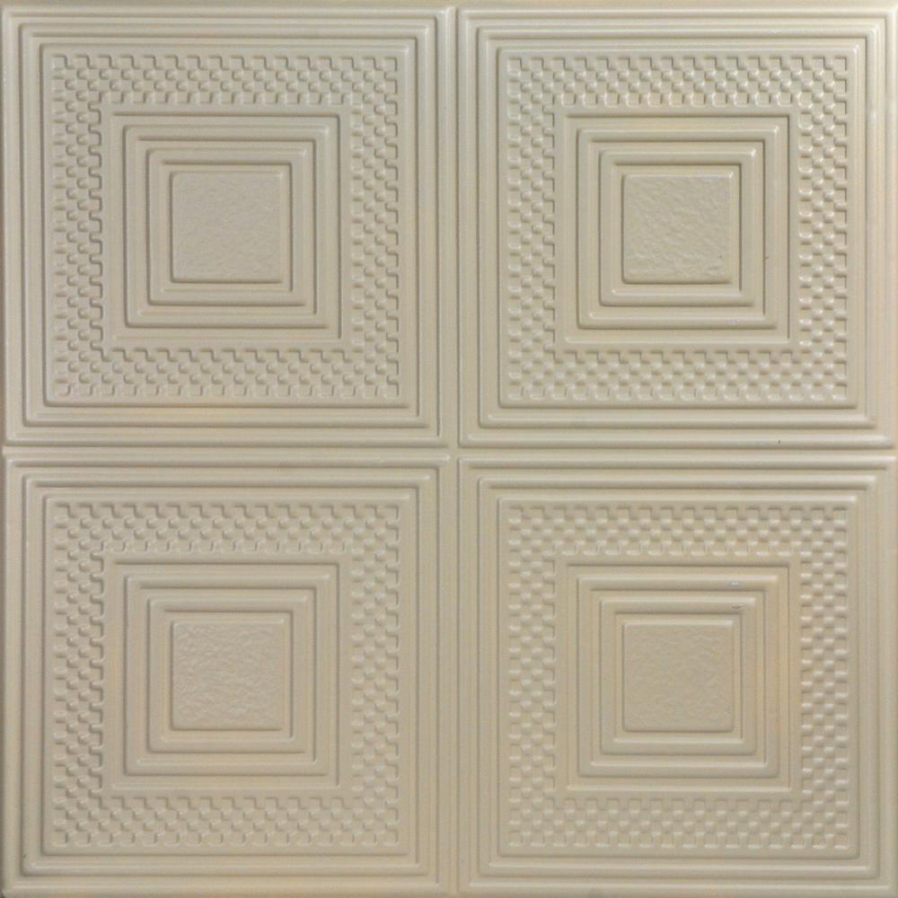 A La Maison Ceilings Nested Squares 1 6 Ft X 1 6 Ft Glue Up Foam Ceiling Tile In Lenox Tan R11lt Styrofoam Ceiling Tiles Plastic Ceiling Tiles Covering Popcorn Ceiling