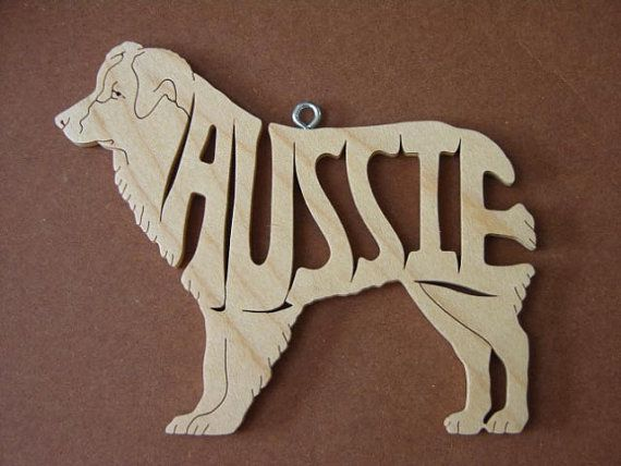 Pastor Australiano Aussie decoración madera adornos madera cortada