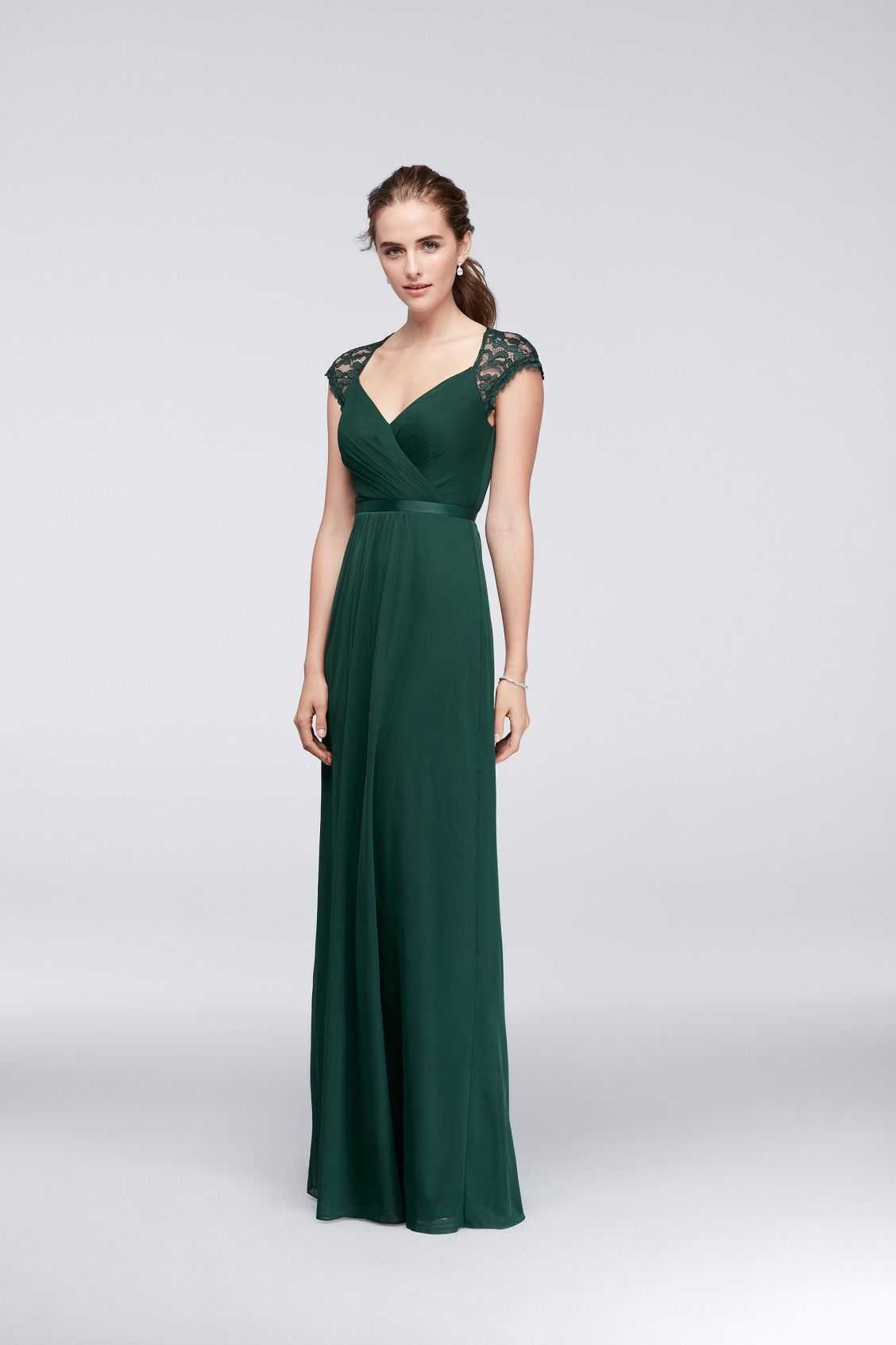 cc9629e332a Juniper Green Long Mesh Bridesmaid Dress with Lace Cap Sleeves and Open  Back by David s Bridal