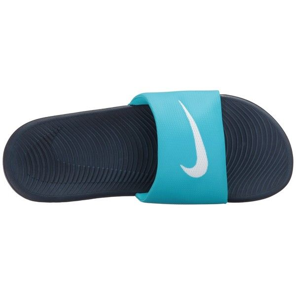 55faa9469 Nike Kawa Slide (Chlorine Blue Obsidian White) Women s Sandals (82 BRL) ❤  liked on Polyvore featuring shoes