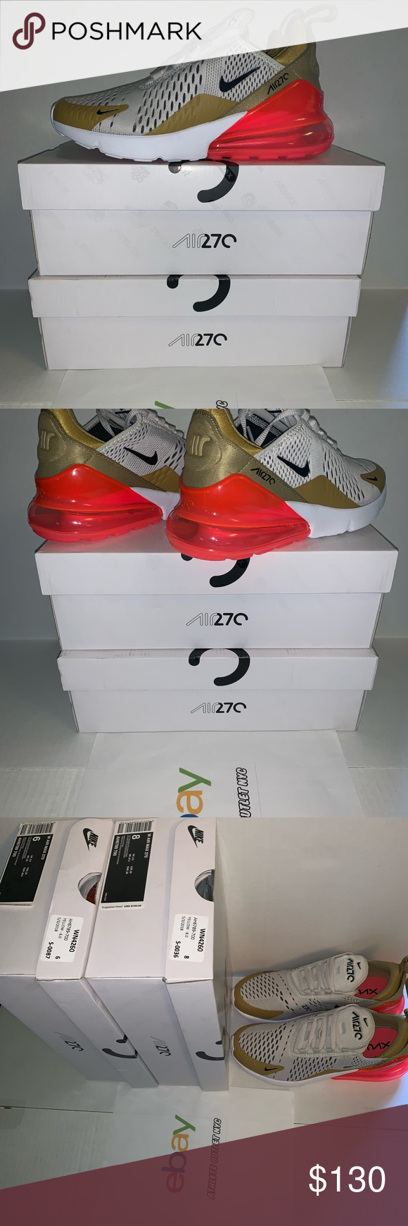 be5dc7c20a New Womens Nike air Max 270 Gold Pink AH6789-700 New ! Women's Nike Air Max  270