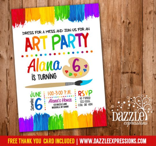 printable art paint party invitations. colorful kids birthday, Party invitations