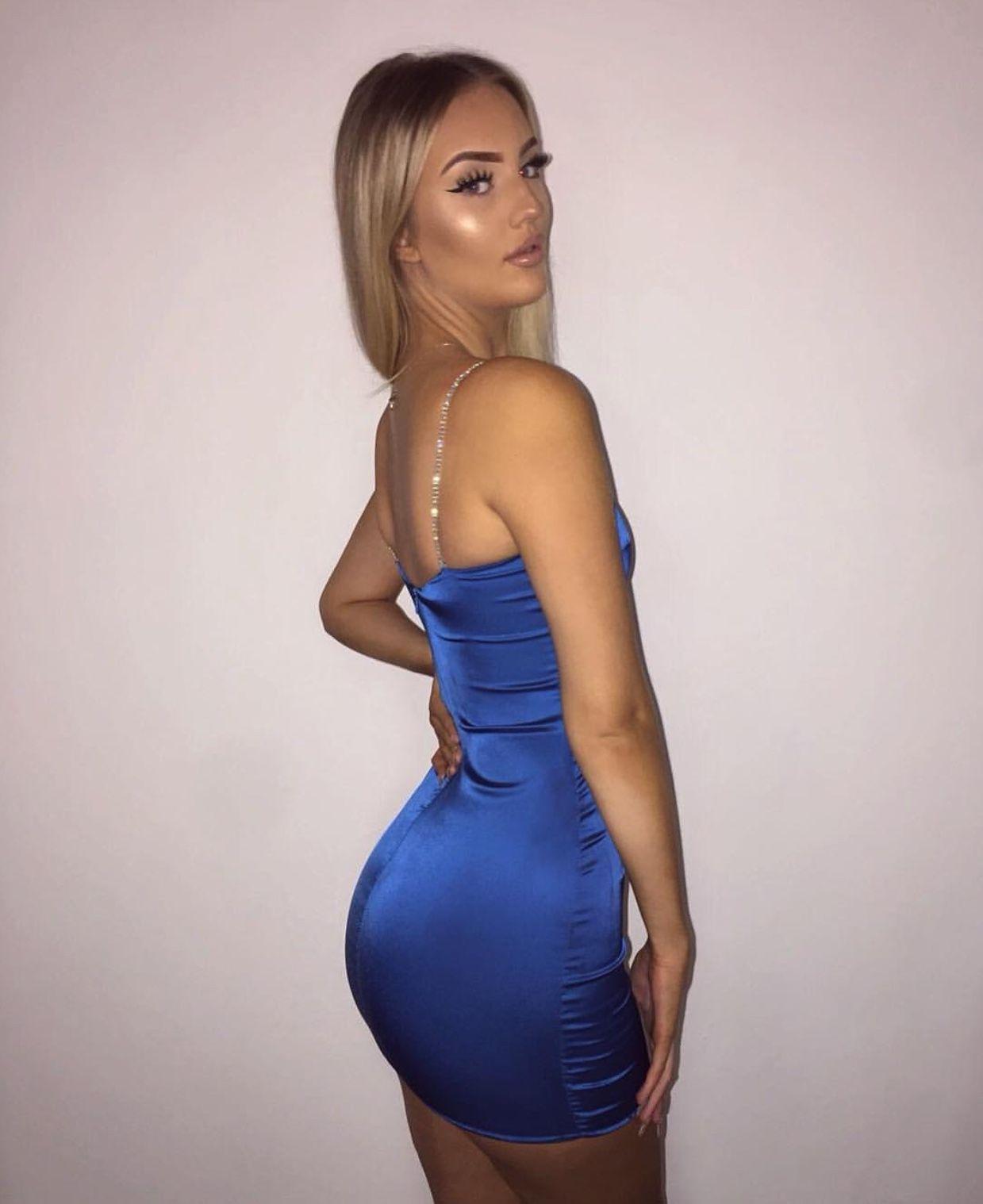 Blue Satin Mini Dress