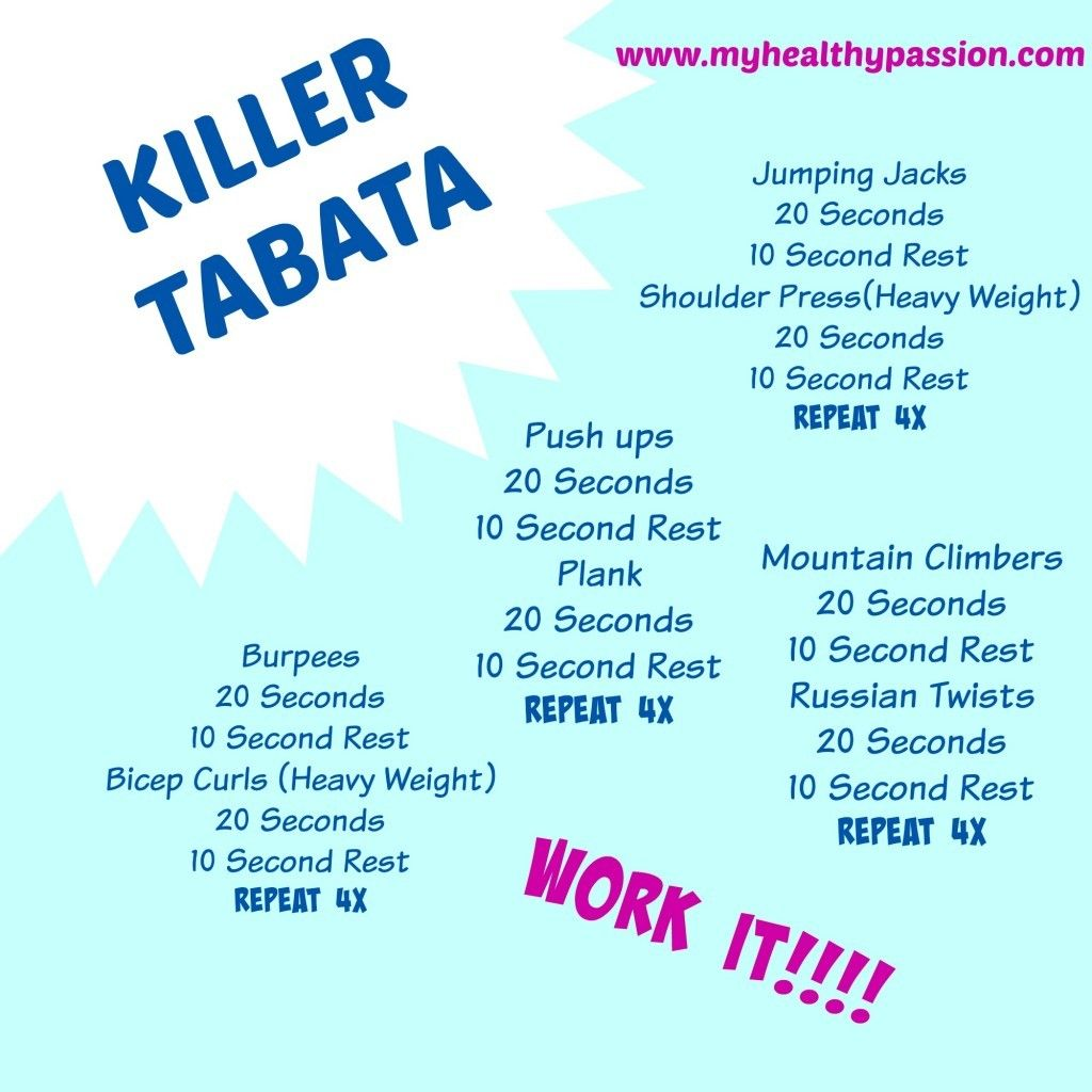 Killer Tabata Workout (myhealthypassion.com) | Tabata ...