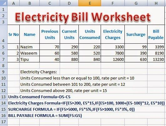 Electricity Bill Calculator Formulas in Excel ~ Perfect Computer - bills to pay template