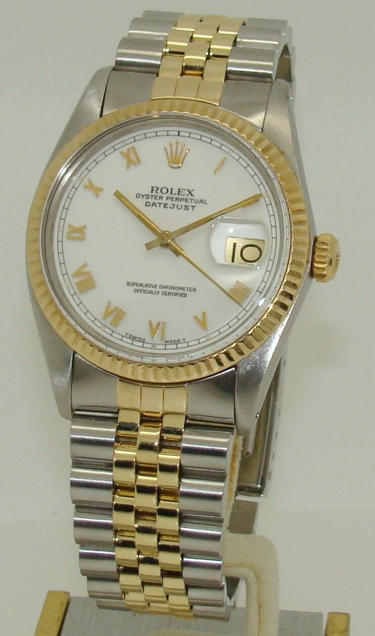 Stainless Datejust Watch Mens 18k About Details Rolex Gold Steel 29IYDeWEH