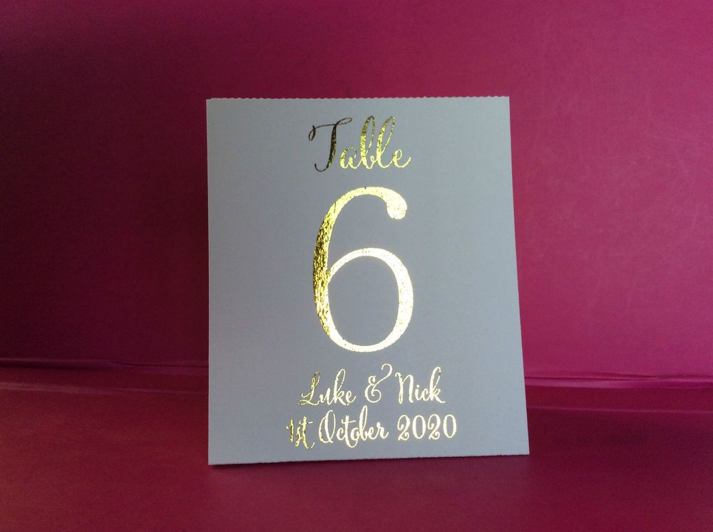 White Table Number Tent Style Wedding Table Personalised Gold Foil V7 & White Table Number Tent Style Wedding Table Personalised Gold Foil ...