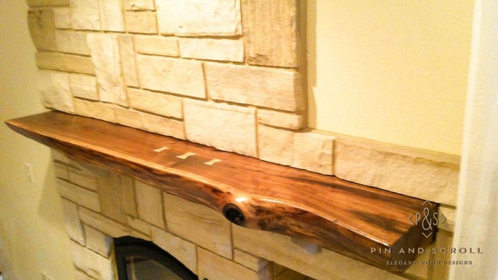 Live Edge Walnut Slab Mantel with Butterfly Joints 02 ...