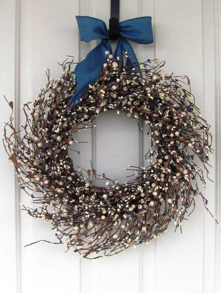 Beach Decor - Blue Tan \u0026 Ivory Pip Berry Wreath - Primitive Wreath - Blue Berry & Beach Decor - Blue Tan \u0026 Ivory Pip Berry Wreath - Primitive Wreath ...