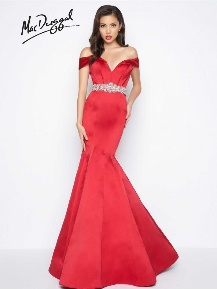 d0a7203c Red Off the Shoulder Mermaid Evening Gown | Mac Duggal 48459R Red, satin  off the shoulder, mermaid dress with boned bodice, jewel encrusted belt and  bustle ...