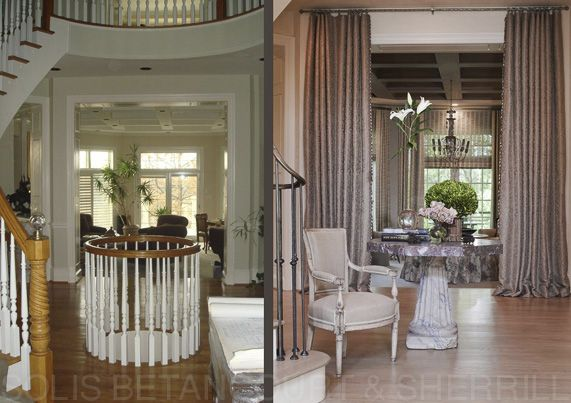 We eliminated unnecessary architectural elements to create an elegant and grand entry    #entryfoyer  #draperies  #louisxvi  #beforeafter #beforeandafter