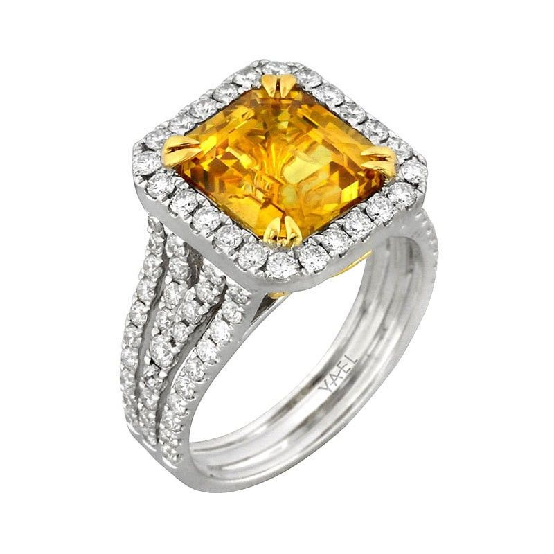 Alsek 18k two tone gold ring featuring 5.12 carat yellow sapphire, accented with 1.11 carats of ideal cut diamonds