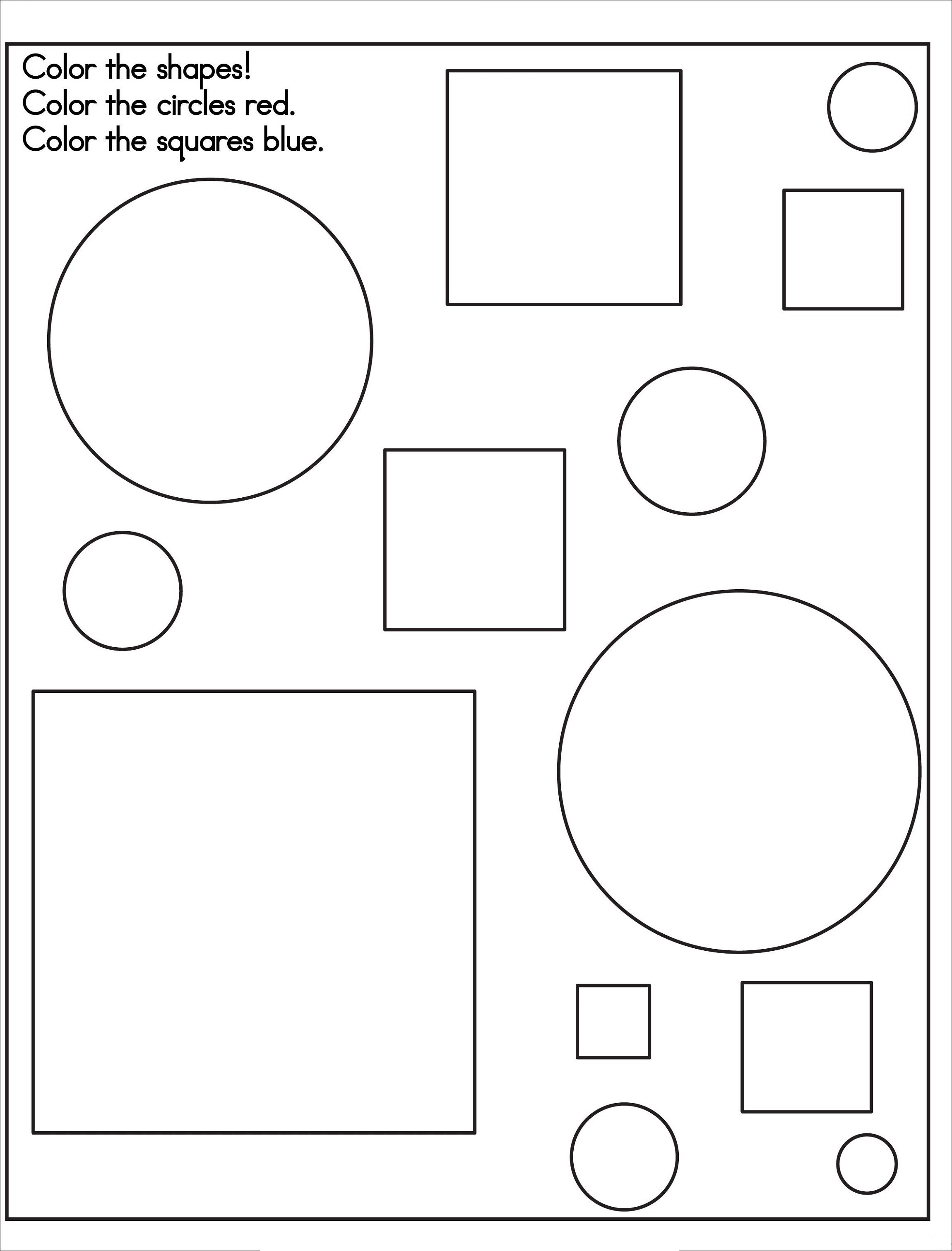 Color By Shape Worksheet Easy