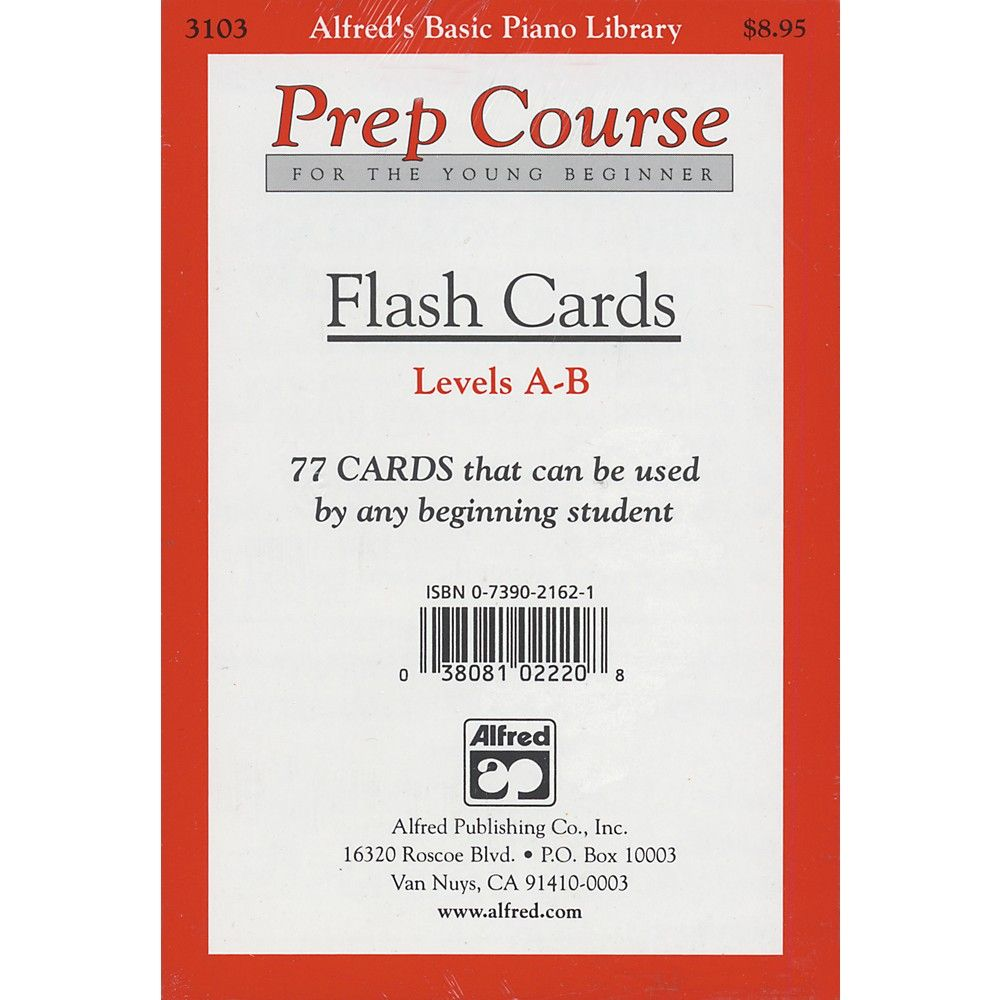 Alfred alfreds basic piano prep course flash cards levels