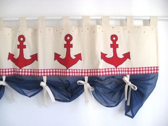attractive and bright red nursery ideas | Applique Anchor Red Gingham Navy Blue Valance Nautical ...