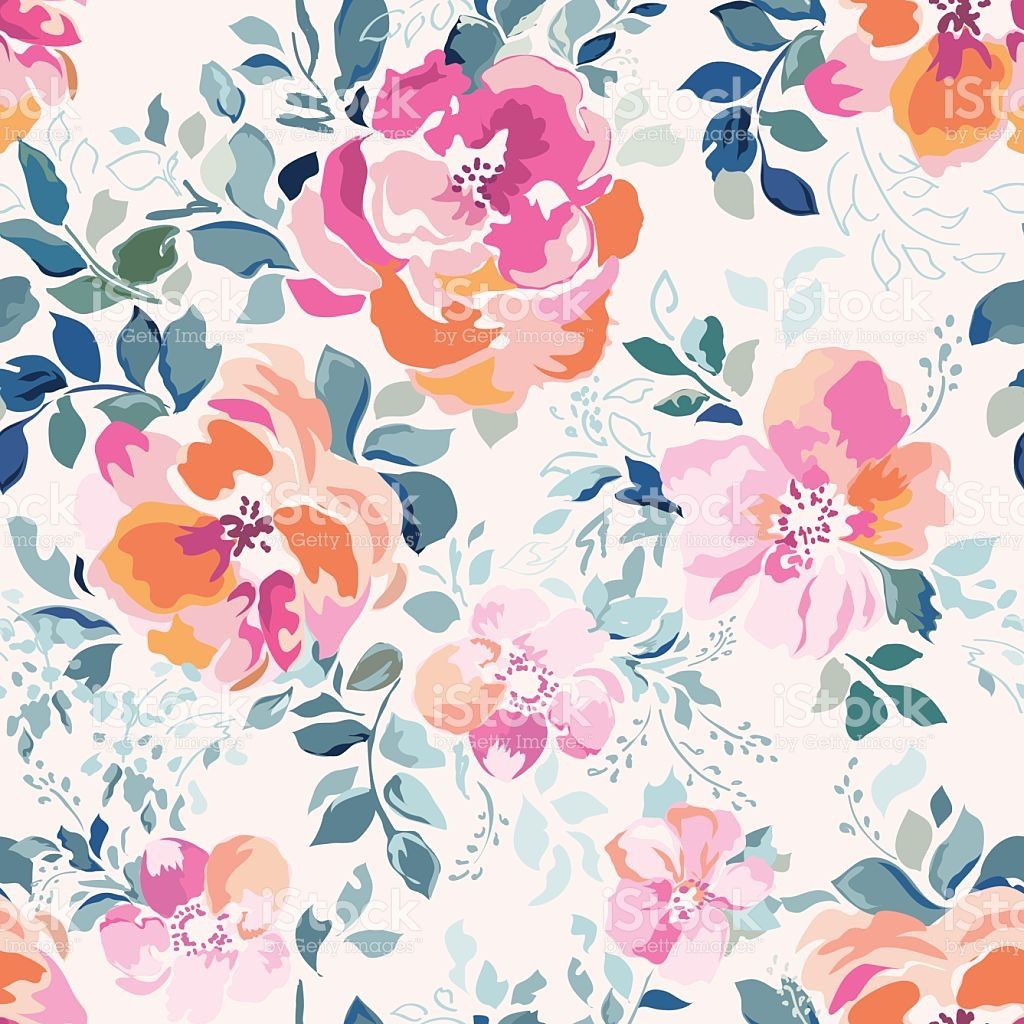 watercolor inspired pink rose floral print Акварельные