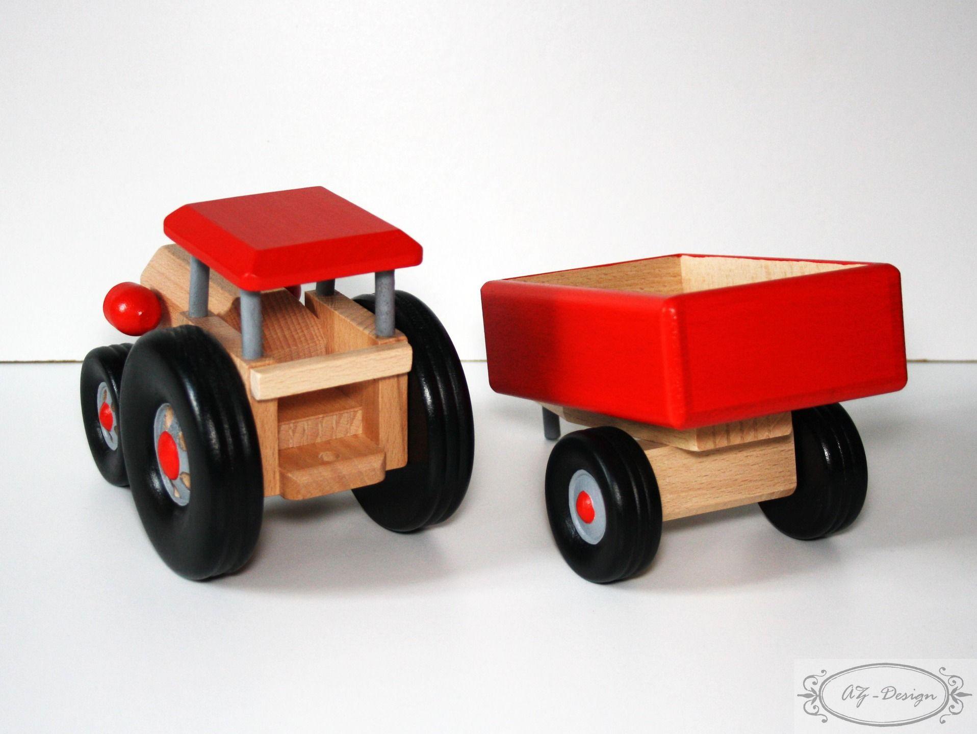 Jouet bois grand tracteur en bois avec sa remorque jouet - Tracteur rigolo ...
