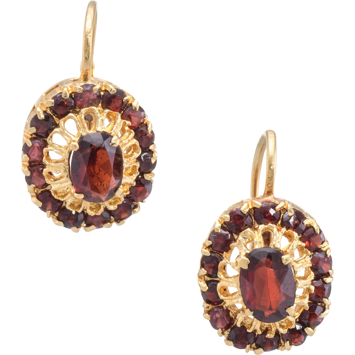 Garnet Drop Earrings Vintage 18 Karat Yellow Gold Fine Estate Jewelry Pre Owned