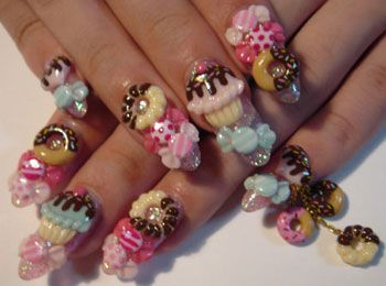 This Takes Gaudy To A Whole Different Level Nails Cupcake Nail