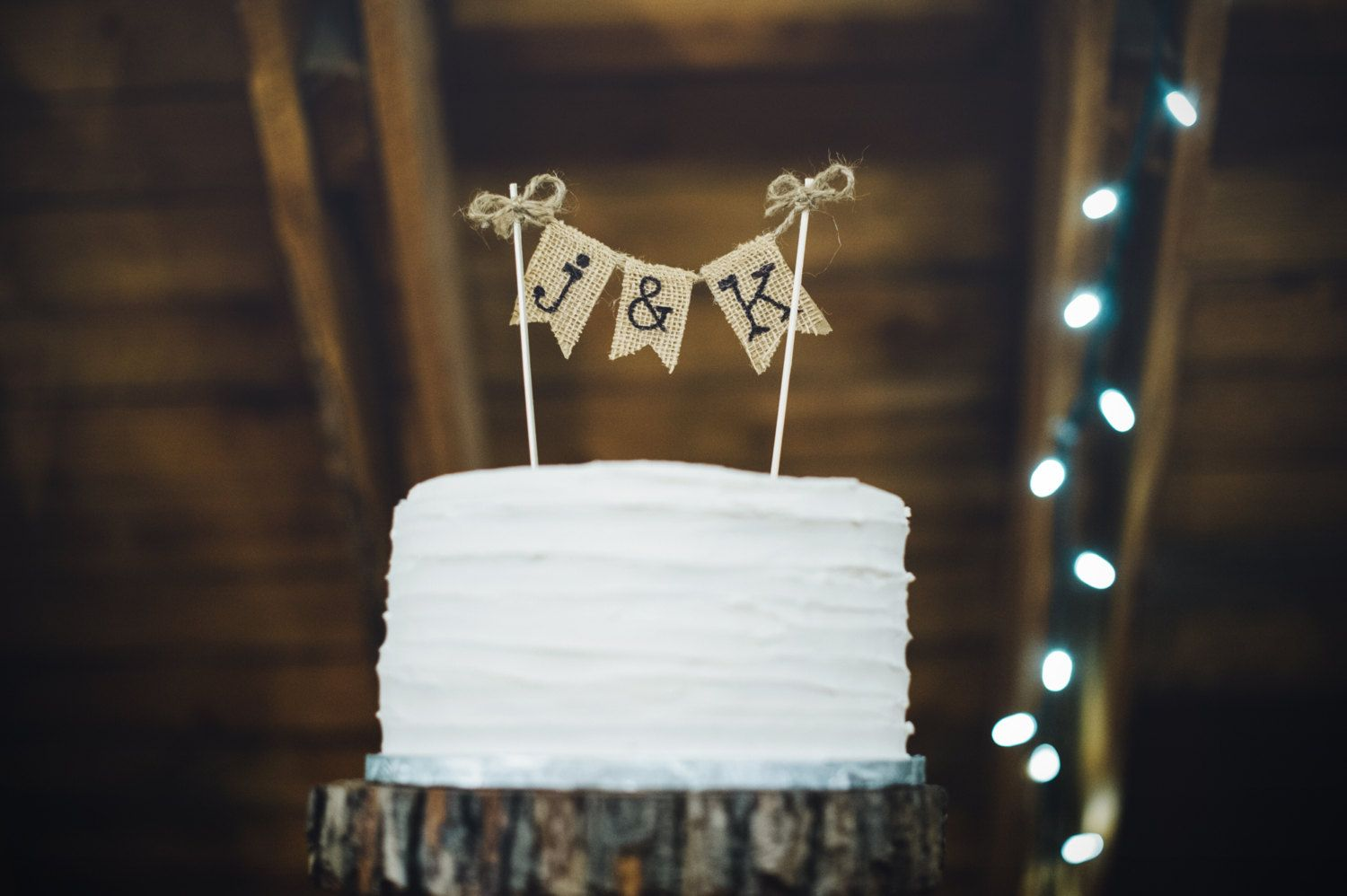Rustic wedding cake topper personalized wedding cake topper burlap