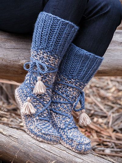 Knitting Needles Mukluk Boot Style Slippers Purchased Pattern