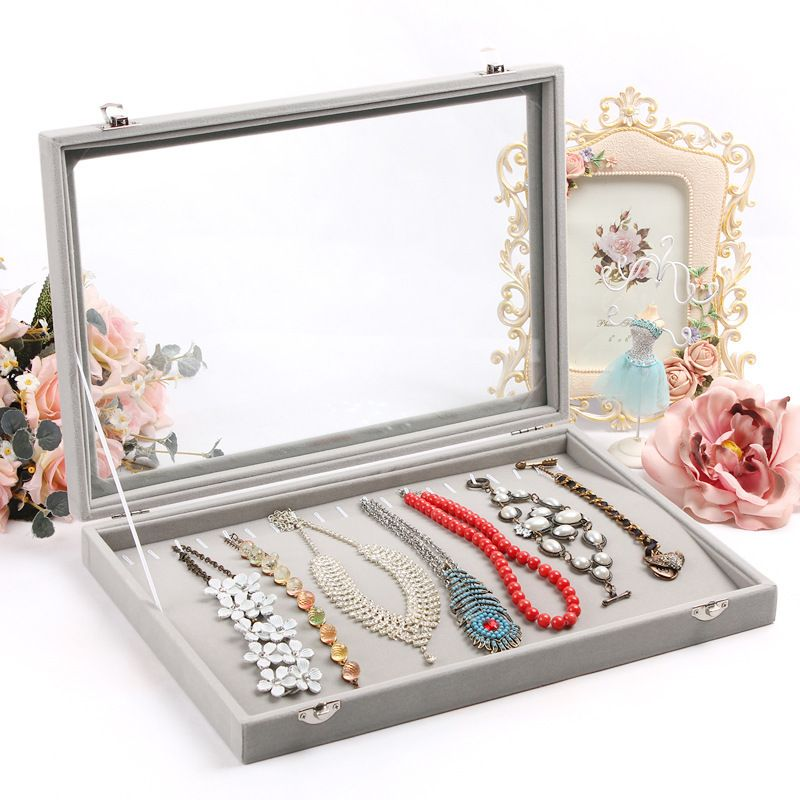 Image result for velvet jewelry box gray necklace
