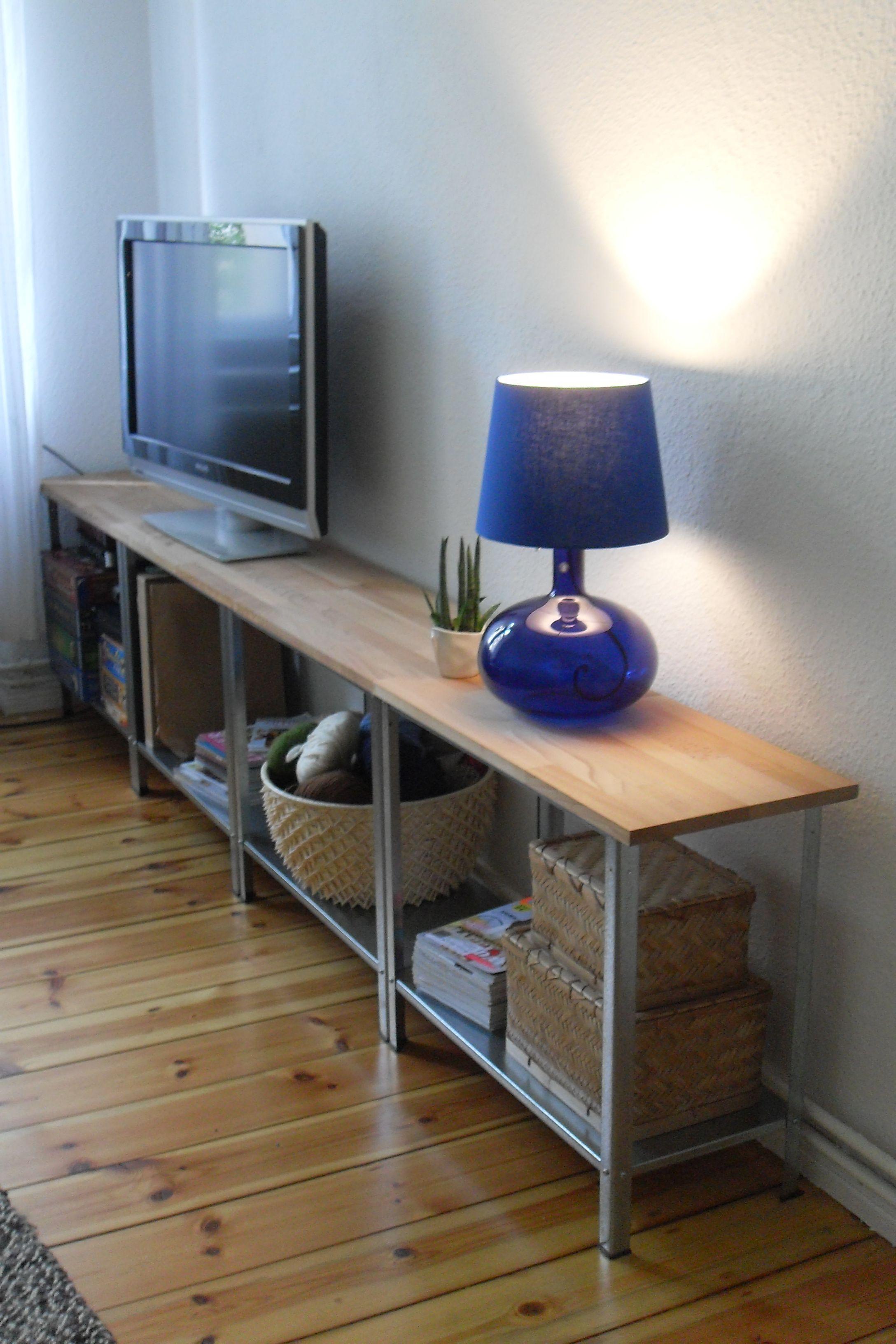diy sideboard tv regal ikea hack hyllis dyi pinterest wohnzimmer m bel und ikea. Black Bedroom Furniture Sets. Home Design Ideas