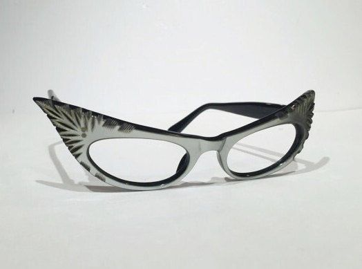 Vintage Cat Eye Eyeglasses Gray Silver by MotownLostandFound