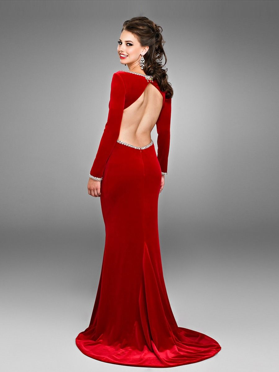 Long Sleeve Velvet Dress Zipper Velvet Floor Length Scoop Neck ...