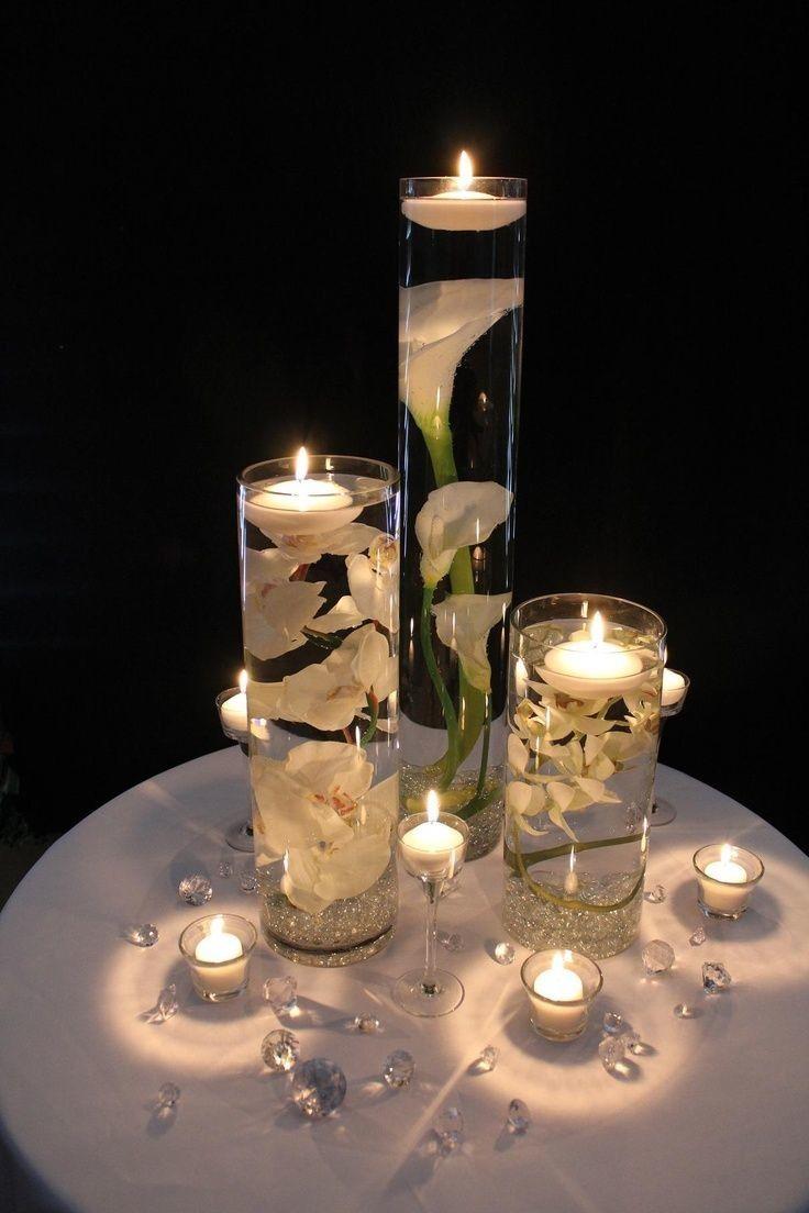 Kwiaty W Wodzie Beautiful Wedding Reception Floating Candle Centerpieces Wedding Table