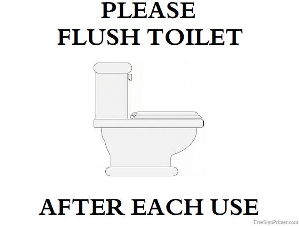 Printable Please Flush Toilet Sign