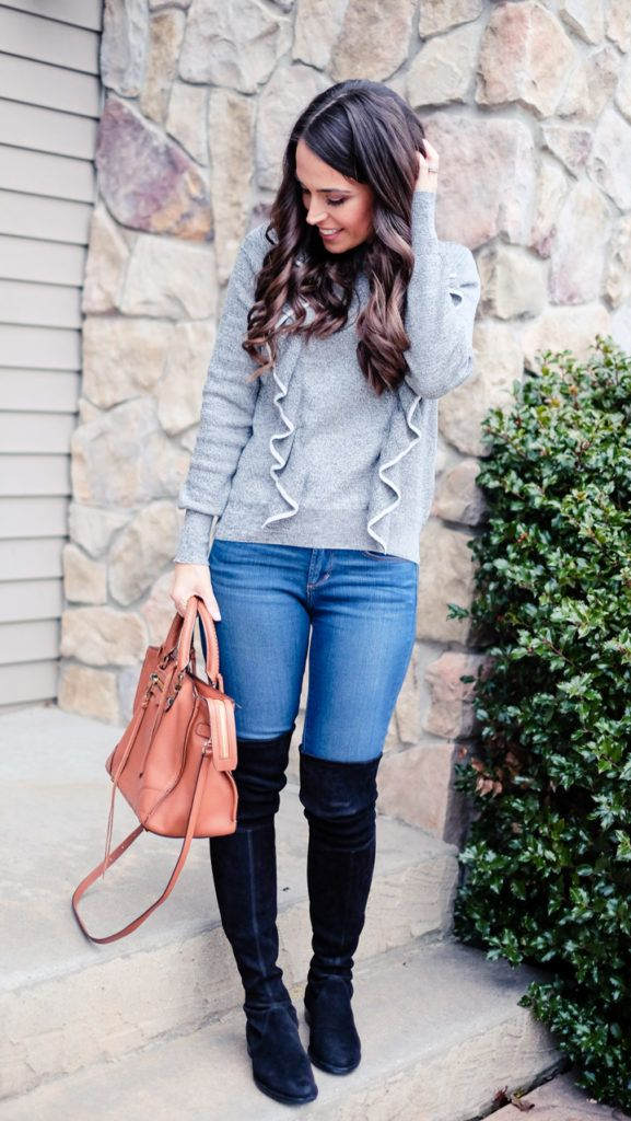 065a5d5df59 Gray ruffled Sweater outfit. Cognac satchel crossbody bag. Black Stuart  Weitzman lowland black over the knee boots idea.