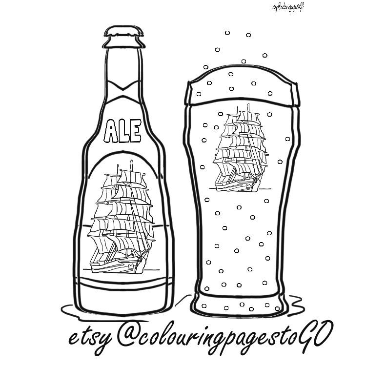 Beer coloring page, fun beer colouring, cheers, instant download fun ...