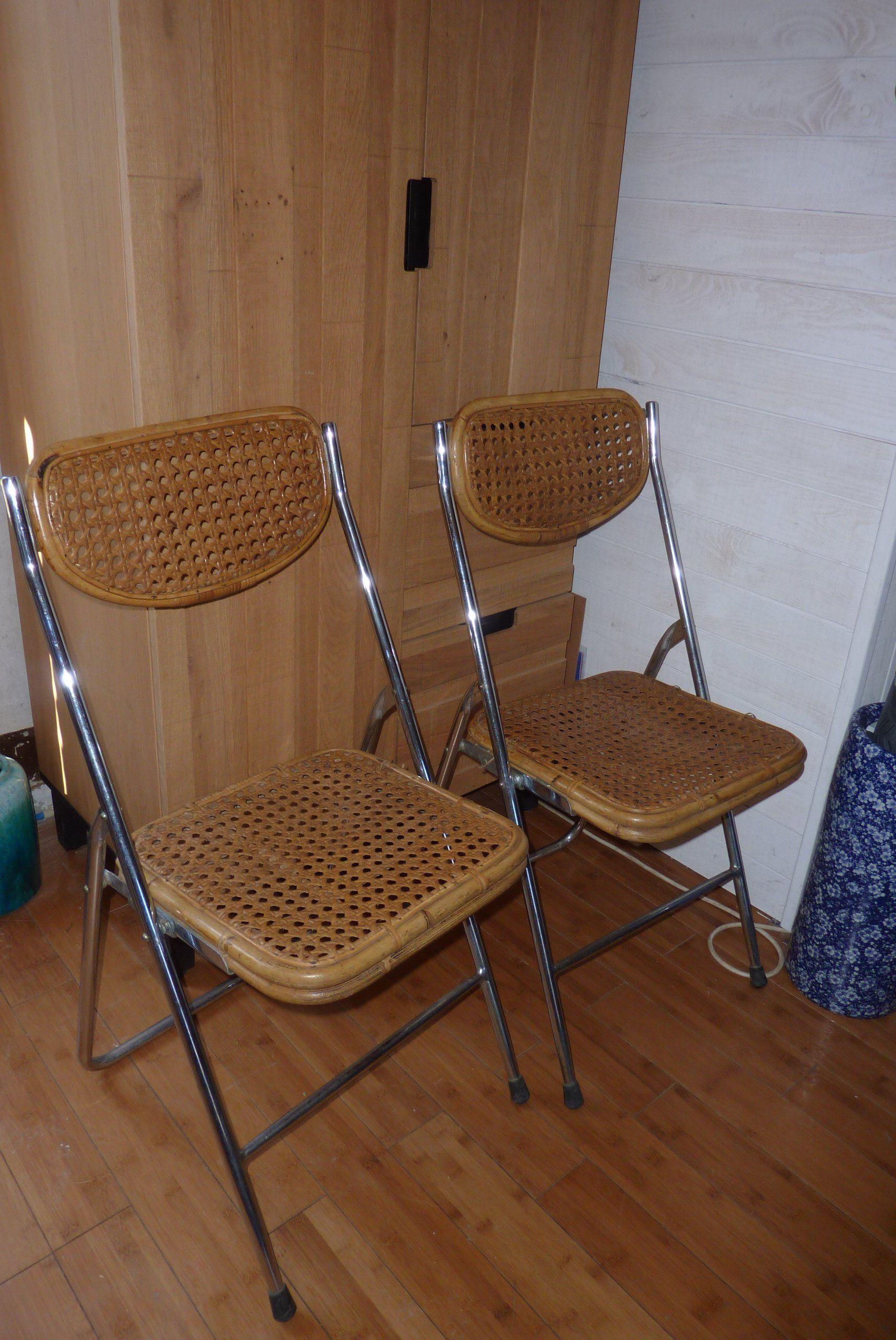 Chaise Pliante Pliable Design En Metal Bambou Cannage Cannees Vintage Annees 70 Folding Chair Chair Chair Design