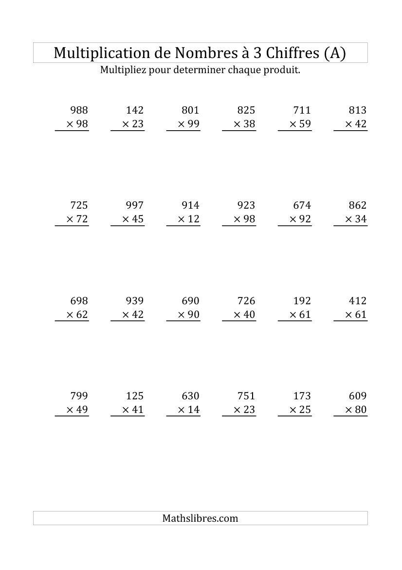Multiplication De Nombres A 3 Chiffres Par Des Nombres A 2 Chiffres Tout Disponible Le 8 Novembre 2014 Multiplication Math Math Equations [ 1169 x 826 Pixel ]
