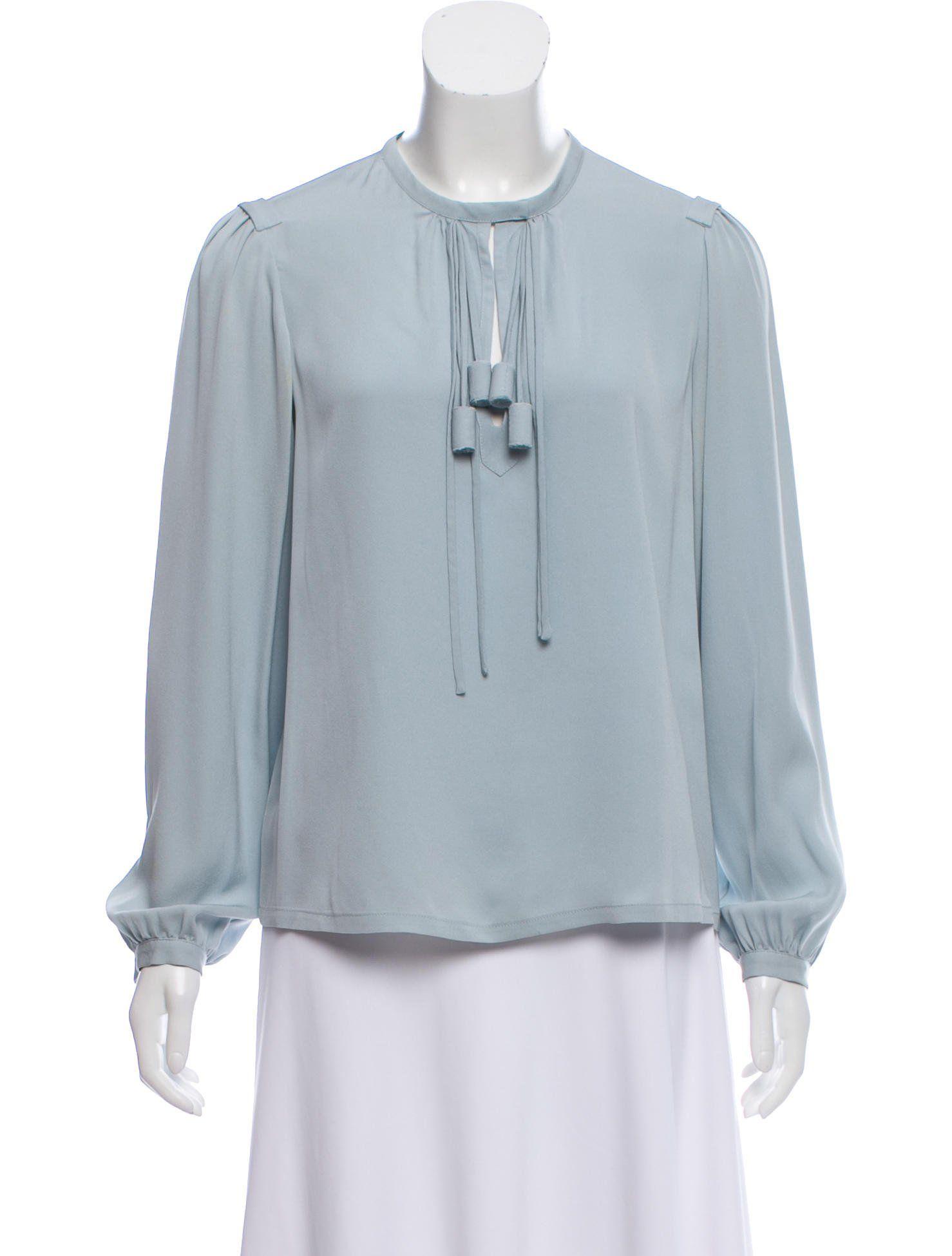 bc476e9e2f25ea Sky blue Diane von Furstenberg Florane silk top with scoop neckline ...