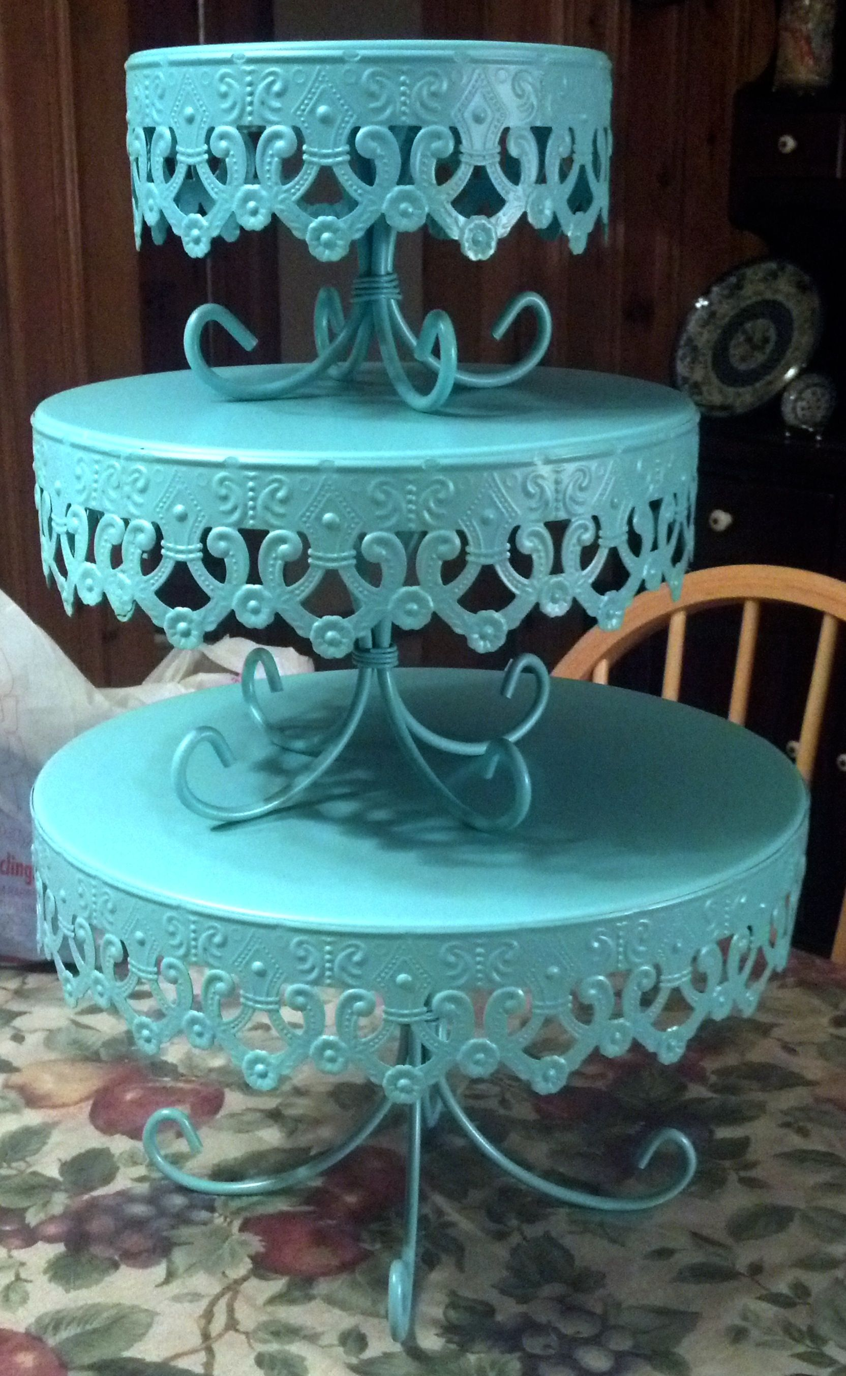 Turquoise cake stands from Marshalls