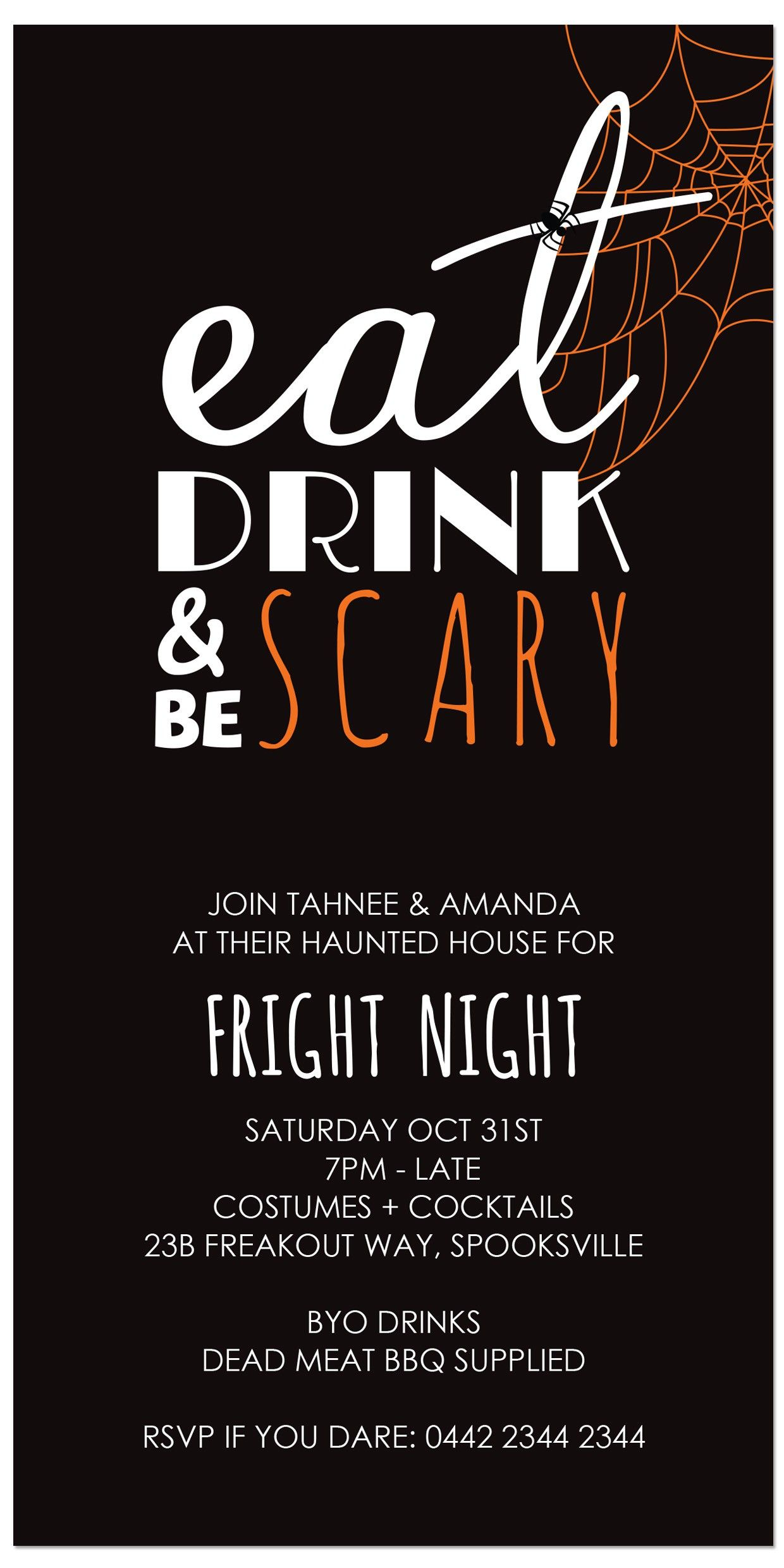 Eat, Drink & Be SCARY! - Halloween invitations from only $1 each ...