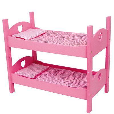 2 camas litera rosada de madera para mu ecas 51cm casas - Cama litera de madera ...