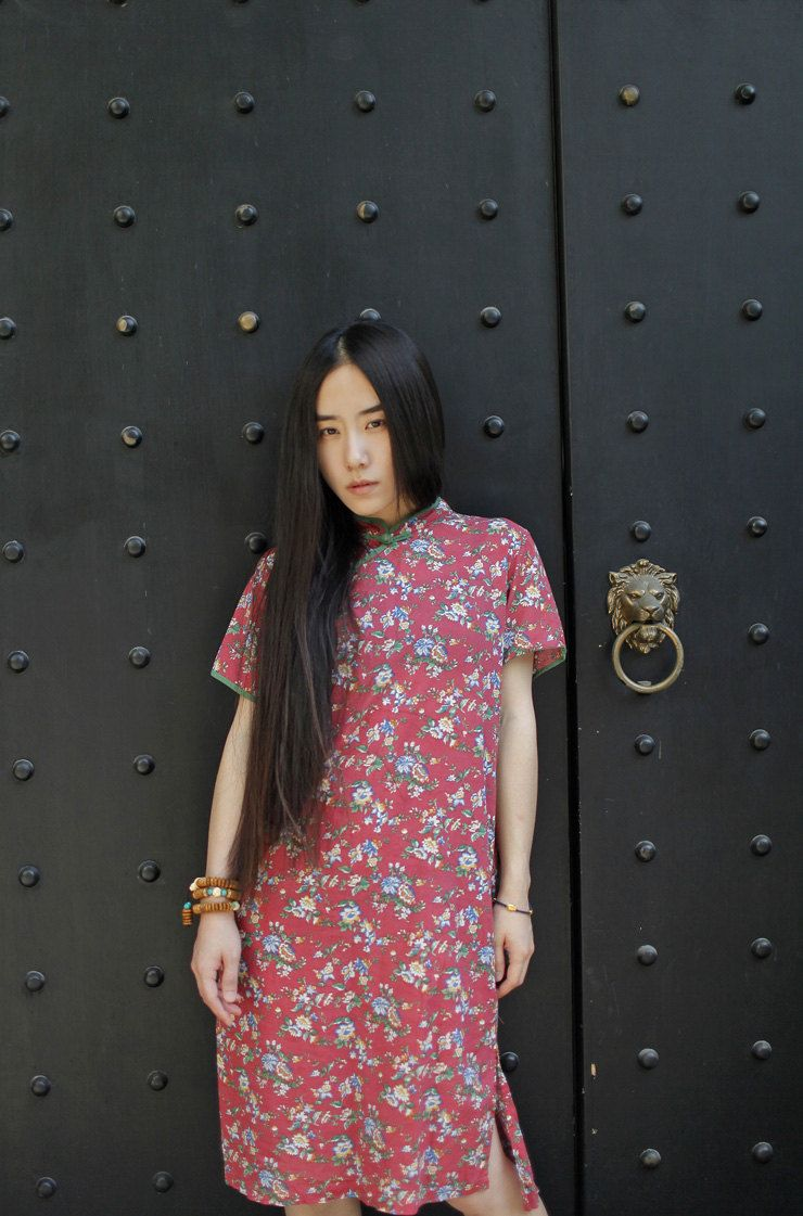 Floral Print Qipao Party Dress for Women Summer Short