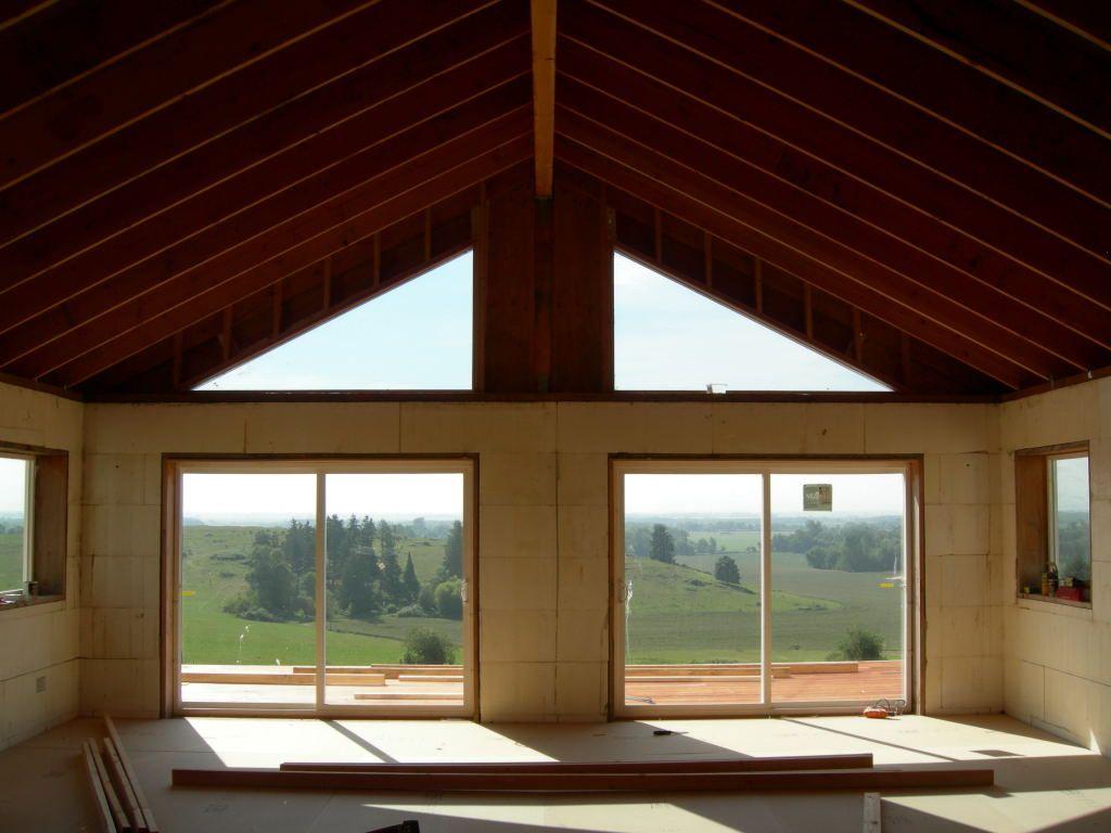 Triangle windows custom framed blue tint triangle for Custom house windows