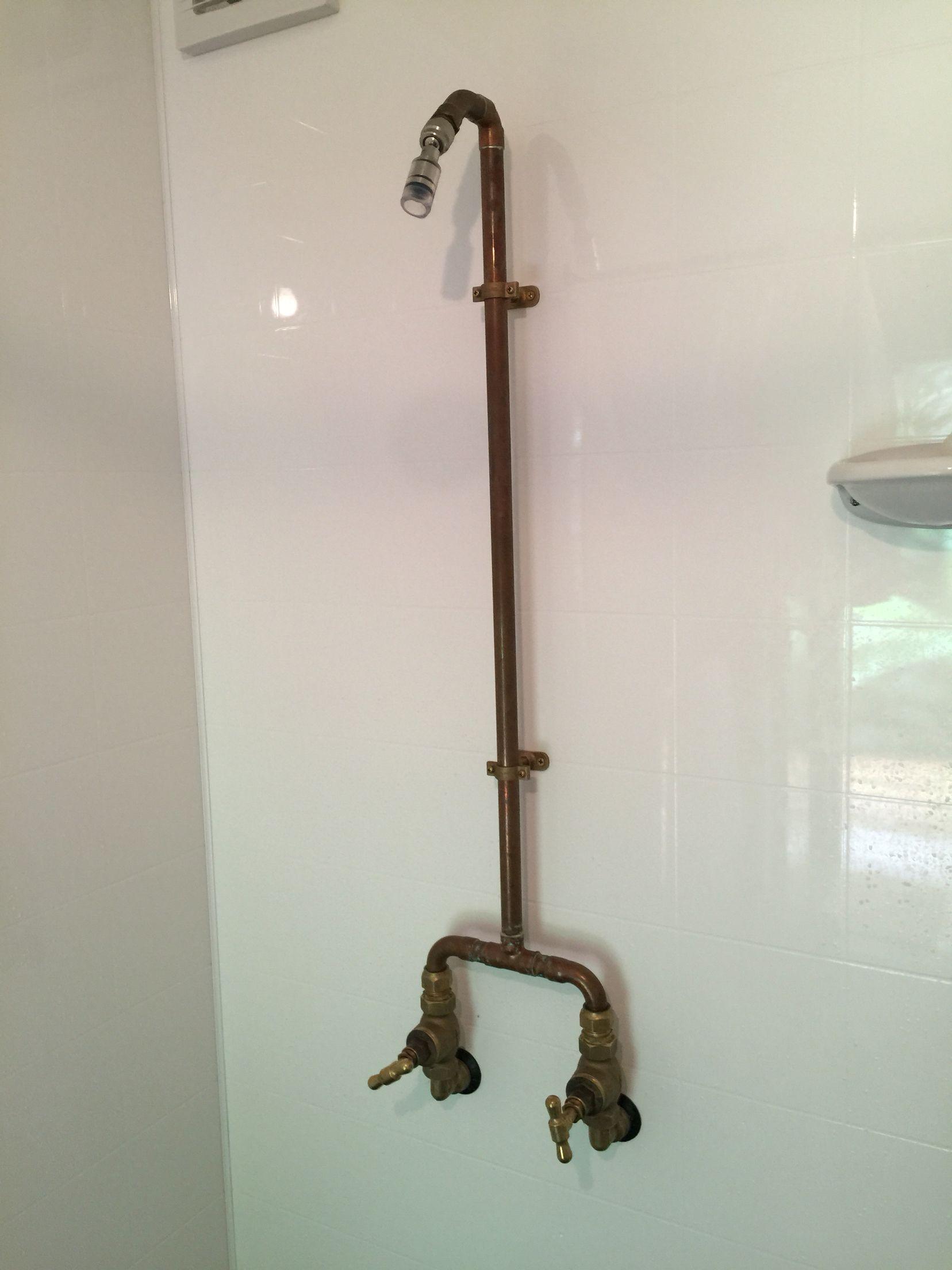 Fabricated copper/brass shower mixer featuring HighSierra low flow ...